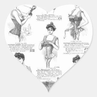 Corsés del francés del vintage de Marche del Bon Pegatina En Forma De Corazón