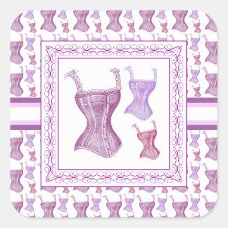 Corsés púrpuras elegantes del Victorian con las Pegatina Cuadrada