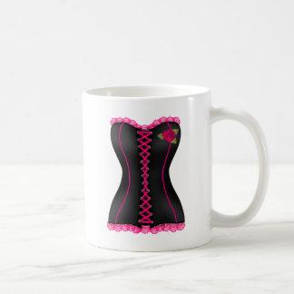 Corset Black Pink rose Coffee Mug