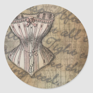 Corset Collage Classic Round Sticker