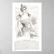 Corset Pompadour Vintage French Lingerie Poster