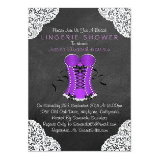 Corset White Lace Chalkboard Lingerie Shower 5x7 Paper Invitation Card