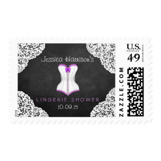 Corset White Lace Chalkboard Lingerie Shower Postage Stamp