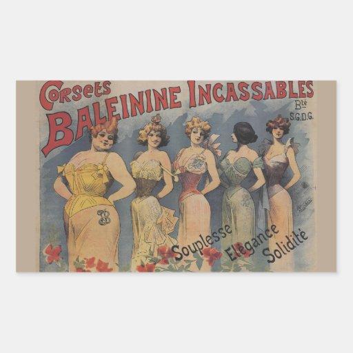 Corsets Baleinine Incassables French VIntage Rectangular Sticker