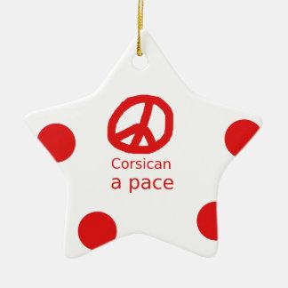 Corsican Language and Peace Symbol Design Ceramic Ornament