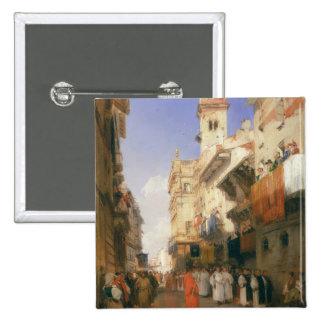 Corso Sant'Anastasia, Verona (aceite en el panel) Pin Cuadrada 5 Cm