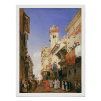 Corso Sant'Anastasia, Verona (oil on panel) Poster