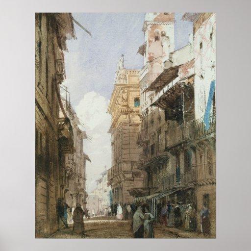 Corso Sant'Anastasia, Verona, with the Palace of P Poster