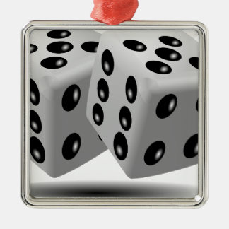 Corta la suerte de juego de los números en adorno navideño cuadrado de metal