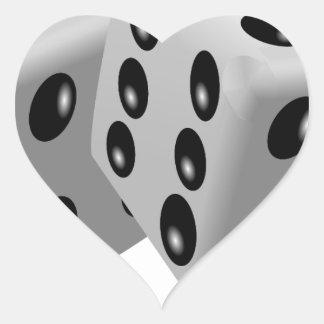 Corta la suerte de juego de los números en colcomanias corazon