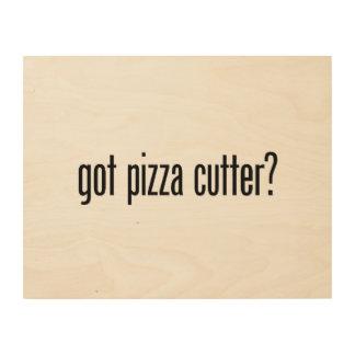 cortador conseguido de la pizza impresiones en madera