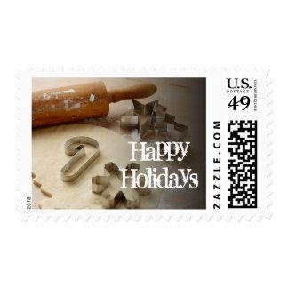 Cortadores de la galleta del navidad y hecho en sello postal