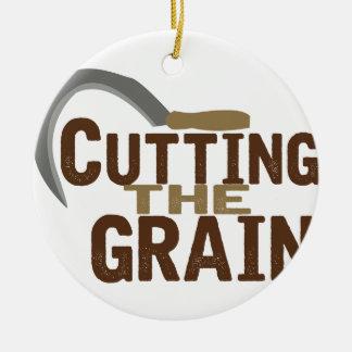 Cortar el grano adorno navideño redondo de cerámica