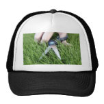 Cortar la hierba con un par de tijeras gorras de camionero