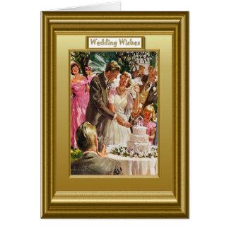 Cortar la torta en la recepción tarjeta de felicitación
