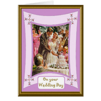 Cortar la torta tarjeta de felicitación