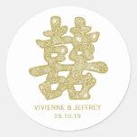 Corte chino del papel del boda de la felicidad etiqueta redonda