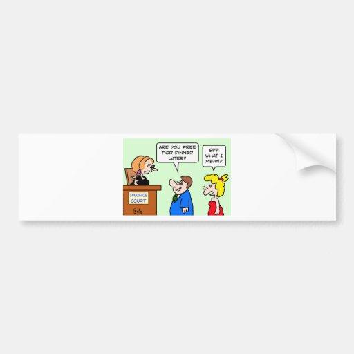 corte de divorcio que liga la cena libre etiqueta de parachoque