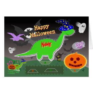 Corte de los dinosaurios 3D del feliz Halloween y Tarjeta De Felicitación