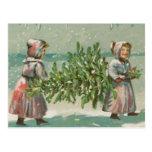 Corte del árbol de navidad del vintage tarjeta postal