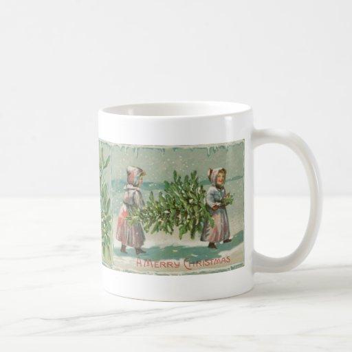 Corte del árbol de navidad del vintage taza clásica
