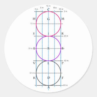 corte del Dressage de los 20x60m ** círculos ** Pegatina Redonda