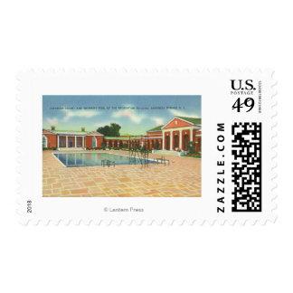 Corte del edificio de la reconstrucción y opinión sellos postales