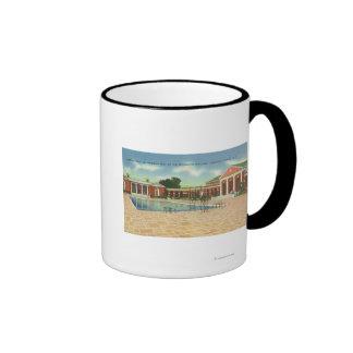 Corte del edificio de la reconstrucción y opinión  tazas de café