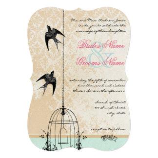 """Corte el boda rústico del Birdcage con tintas del Invitación 5"""" X 7"""""""