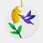 Corte el colibrí y la flor de papel ornaments para arbol de navidad