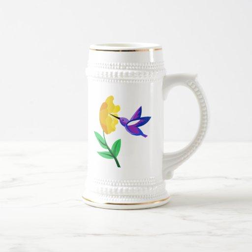 Corte el colibrí y la flor de papel taza de café