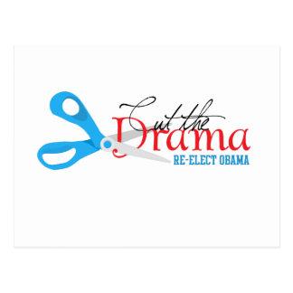 Corte el drama, reelija a Obama Tarjeta Postal