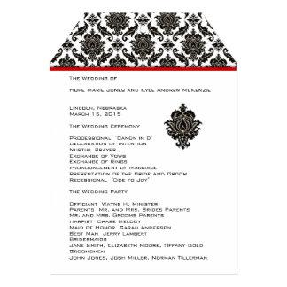"""Corte el programa negro del boda con tintas de la invitación 5"""" x 7"""""""