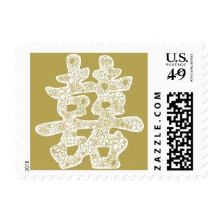 Corte floral del papel del boda chino doble de la sello postal
