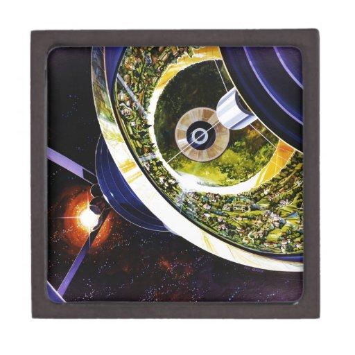 Corte futurista de la estación espacial caja de recuerdo de calidad