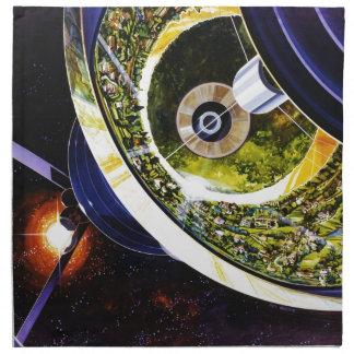 Corte futurista de la estación espacial servilleta