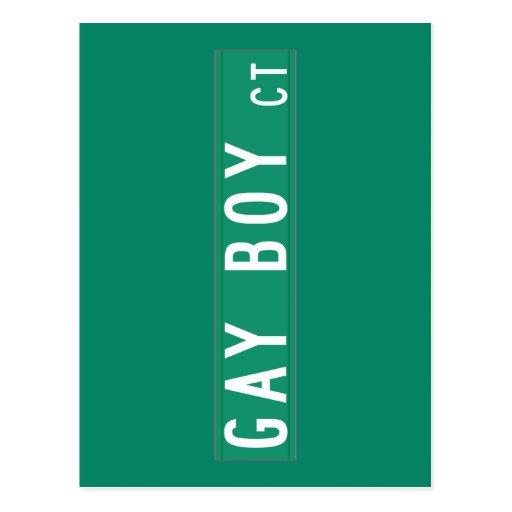 Corte gay del muchacho, placa de calle, New Tarjeta Postal