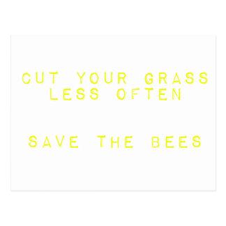 Corte la hierba menos a menudo. Ahorre las abejas Tarjeta Postal