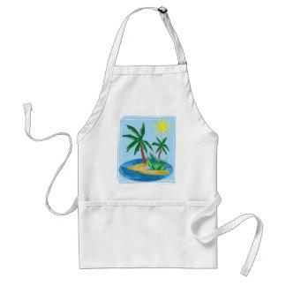 Corte la isla, las palmas y Sun de papel Delantales