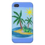 Corte la isla, las palmas y Sun de papel iPhone 4 Protectores