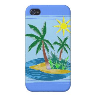 Corte la isla, las palmas y Sun de papel iPhone 4/4S Fundas
