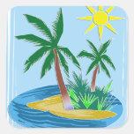 Corte la isla, las palmas y Sun de papel Calcomanía Cuadradase