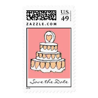 corte la torta del rosa de la torta solamente, sello