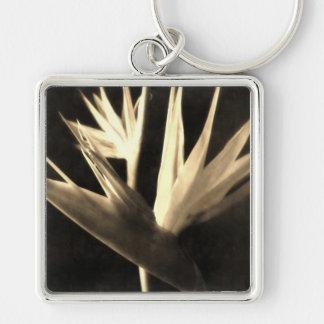 Corte las flores 1 de la ave del paraíso Antiqued Llavero Cuadrado Plateado