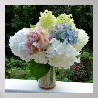 Corte las flores del Hydrangea en un poster de la