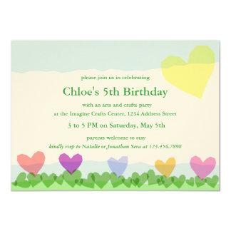 """Corte los corazones de papel Sun y florece a la Invitación 4.5"""" X 6.25"""""""