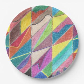 Cortes coloridos y facetas fijados de las placas platos de papel