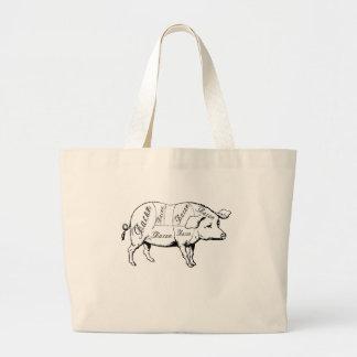 Cortes de la carne de cerdo bolsa tela grande