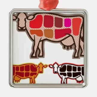 Cortes de la carne de vaca adorno navideño cuadrado de metal