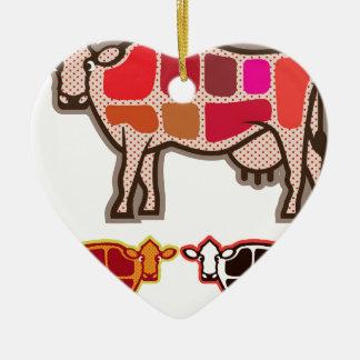 Cortes de la carne de vaca adorno navideño de cerámica en forma de corazón